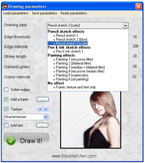 fotosketcher parameters