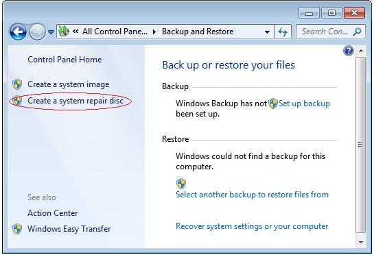 how to create windows 7 backup discs