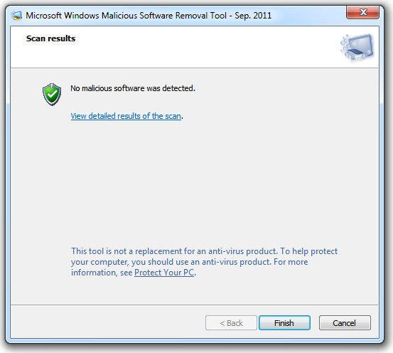 malicious software removal tool scan results