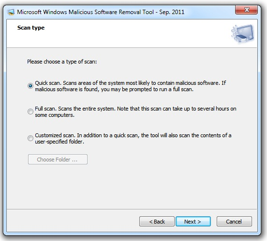 malicious software removal tool scan type