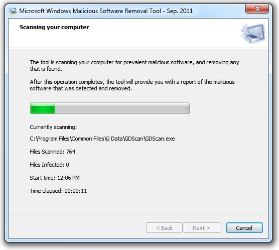malicious software removal tool scanning