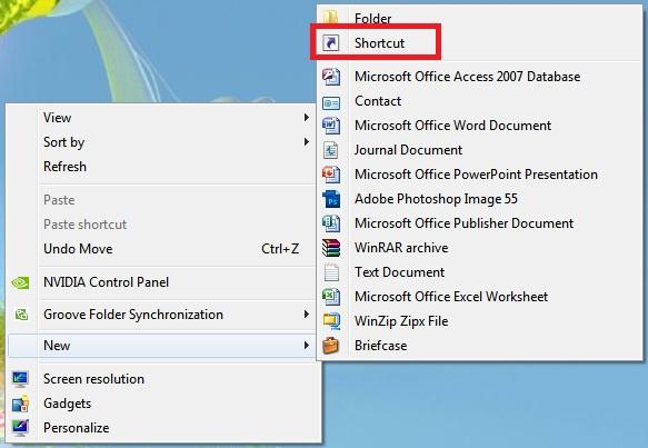 windows 7 create new shortcut