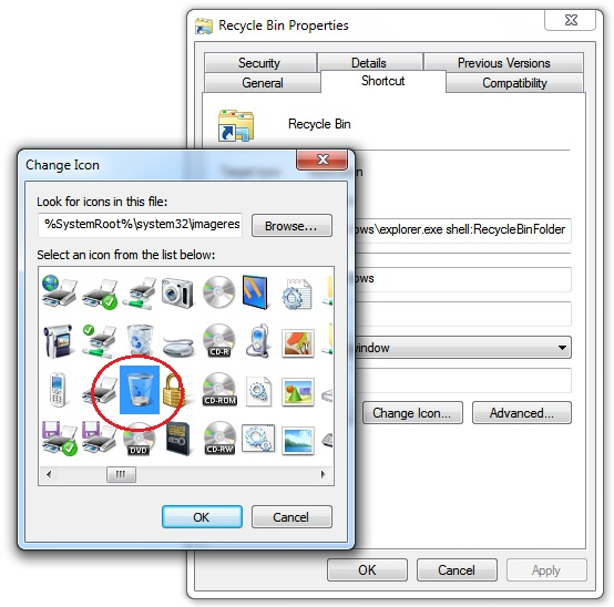 how to delete recycle bin shortcut
