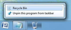 recycle bin on windows 7 task bar
