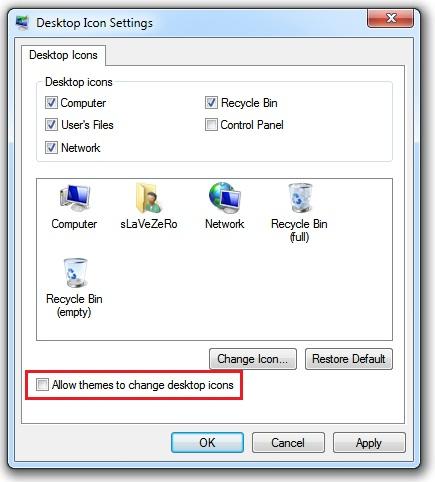 windows 7 desktop icon settings