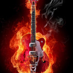 flaming guitar iphone 5 wallpaper